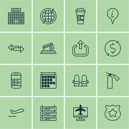 take charge: Set Of 16 Traveling Icons. Includes Calculation, Exit, Airliner Takeoff And Other Symbols. Beautiful Design Elements.
