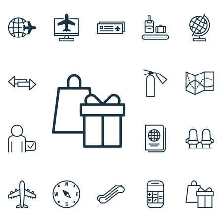 avia: Set Of 16 Transportation Icons. Includes Crossroad, Globetrotter, Worldwide Flight And Other Symbols. Beautiful Design Elements.