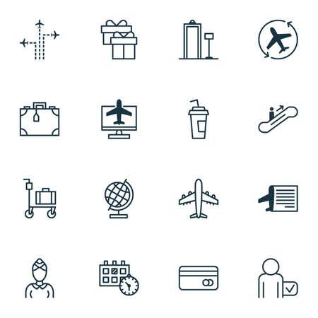 globetrotter: Set Of 16 Transportation Icons. Includes Timetable, Globetrotter, World Sphere And Other Symbols. Beautiful Design Elements. Illustration