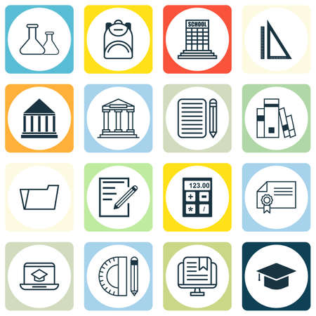open magazine: Set Of 16 Education Icons. Includes Measurement, Home Work, Library And Other Symbols. Beautiful Design Elements.