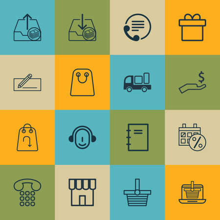 boutique display: Set Of 16 E-Commerce Icons. Includes Refund, Tote Bag, Outgoing Earnings And Other Symbols. Beautiful Design Elements.