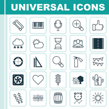 Set Of 25 Universal Editable Icons. Can Be Used For Web, Mobile And App Design. Includes Elements Such As Clear Climate, Reminder, Increase Loup And More.