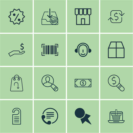 Set Of 16 E-Commerce Icons. Includes Buck, Employee, Spectator And Other Symbols. Beautiful Design Elements. Illustration