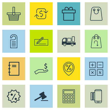 Set Of 16 Ecommerce Icons. Includes Tote Bag, Refund, Money Transfer And Other Symbols. Beautiful Design Elements.