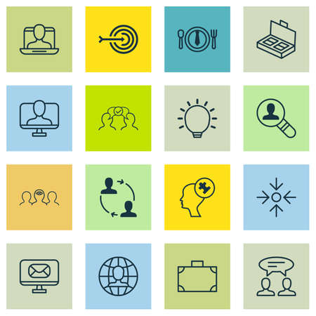 glimpse: Set Of 16 Business Management Icons. Includes Social Profile, Human Mind, Great Glimpse And Other Symbols. Beautiful Design Elements. Illustration