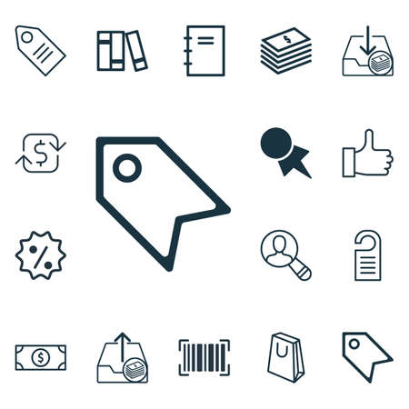 Set Of 16 E-Commerce Icons. Includes Ticket, Spectator, Discount Coupon And Other Symbols. Beautiful Design Elements.