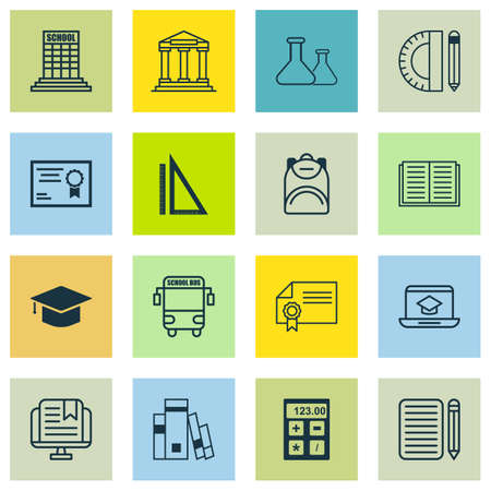 article writing: Set Of 16 Education Icons. Includes Certificate, Diploma, College And Other Symbols. Beautiful Design Elements.