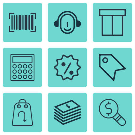 pager: Set Of 9 Commerce Icons. Includes Business Inspection, Employee, Calculator And Other Symbols. Beautiful Design Elements. Illustration