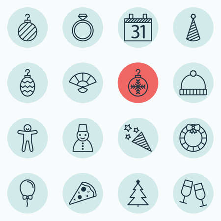christmas cake: Set Of 16 Holiday Icons. Includes Snow Person, Firecracker, Date And Other Symbols. Beautiful Design Elements.
