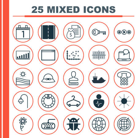 glitch: Set Of 25 Universal Editable Icons. Can Be Used For Web, Mobile And App Design. Includes Elements Such As Password, Photo Camera, Sinus Graph And More. Illustration