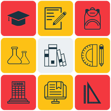 haversack: Set Of 9 School Icons. Includes Haversack, Chemical, Measurement And Other Symbols. Beautiful Design Elements. Illustration