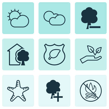 aquatic herb: Set Of 9 Eco-Friendly Icons. Includes House, Delete Woods, Sea Star And Other Symbols. Beautiful Design Elements.