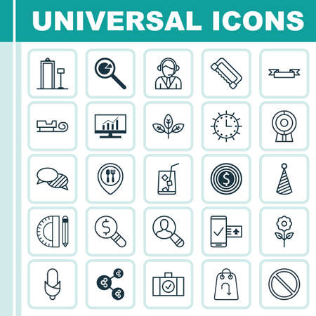 reservation: Set Of 25 Universal Editable Icons. Can Be Used For Web, Mobile And App Design. Includes Elements Such As Sled, Business Inspection, Placard And More.