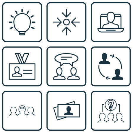 entrepreneurship: Set Of 9 Business Management Icons. Includes Social Profile, Coaching, Dialogue And Other Symbols. Beautiful Design Elements.