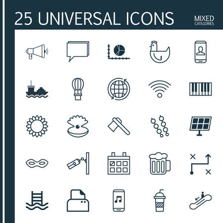 chiken: Set Of 25 Universal Editable Icons. Can Be Used For Web, Mobile And App Design. Includes Elements Such As Cargo Boat, Video Surveillance, Carnival Face And More.