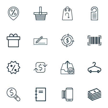 reverse: Set Of 16 Commerce Icons. Includes Recurring Payements, Rebate Sign, Business Inspection And Other Symbols. Beautiful Design Elements.