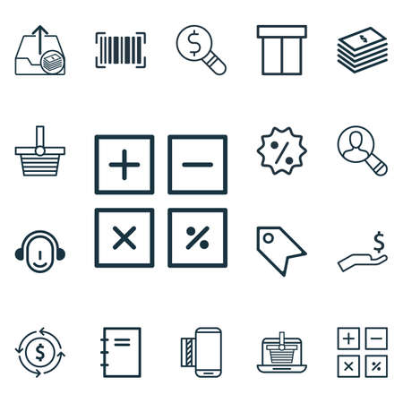 pager: Set Of 16 E-Commerce Icons. Includes Rebate Sign, Mobile Service, Identification Code And Other Symbols. Beautiful Design Elements.