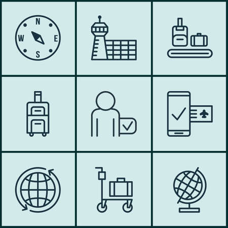 guidance: Set Of 9 Airport Icons. Includes Luggage, Globetrotter, World Sphere And Other Symbols. Beautiful Design Elements.