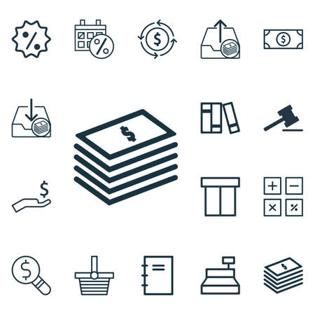spending: Set Of 16 Ecommerce Icons. Includes Outgoing Earnings, Finance, Rich And Other Symbols. Beautiful Design Elements.