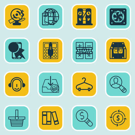 pager: Set Of 16 Ecommerce Icons. Includes Peg, Rich, Discount Coupon And Other Symbols. Beautiful Design Elements. Illustration