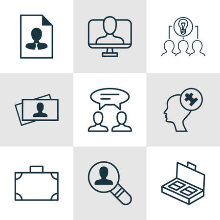 identity management: Set Of 9 Business Management Icons. Includes Online Identity, Open Vacancy, Cv And Other Symbols. Beautiful Design Elements.