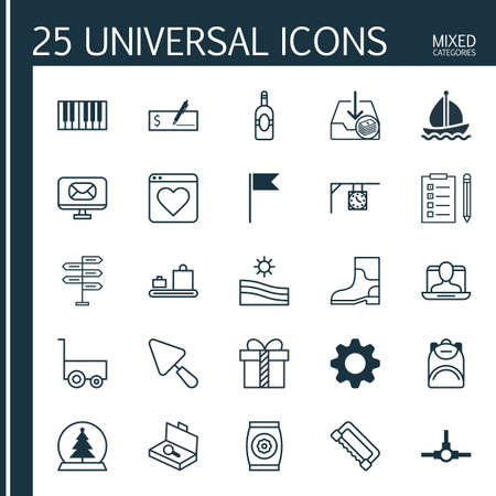 Set Of 25 Universal Editable Icons. Can Be Used For Web, Mobile And App Design. Includes Elements Such As Baggage Carousel, Haversack, Piano And More. Illustration