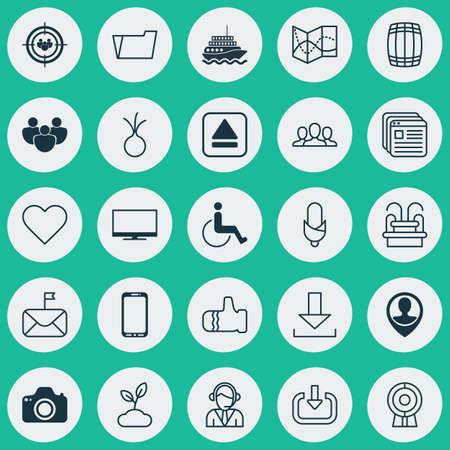 Set Of 25 Universal Editable Icons. Can Be Used For Web, Mobile And App Design. Includes Elements Such As Focus Group, Smartphone, Enter And More.