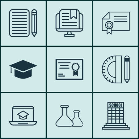 essay: Set Of 9 School Icons. Includes Certificate, Chemical, Home Work And Other Symbols. Beautiful Design Elements. Illustration