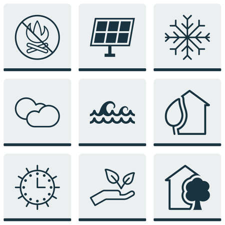 yule tide: Set Of 9 Eco-Friendly Icons. Includes Home, Sun Power, Cloud Cumulus And Other Symbols. Beautiful Design Elements.