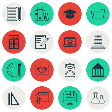 essay: Set Of 16 Education Icons. Includes Taped Book, Education Center, Document Case And Other Symbols. Beautiful Design Elements.