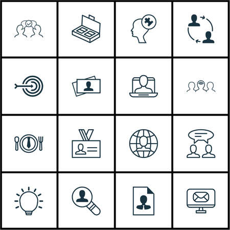 calling card: Set Of 16 Business Management Icons. Includes Coaching, Open Vacancy, Calling Card And Other Symbols. Beautiful Design Elements.