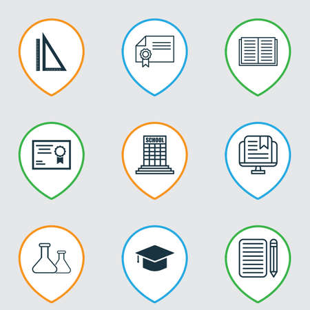 essay: Set Of 9 Education Icons. Includes Home Work, E-Study, Graduation And Other Symbols. Beautiful Design Elements.