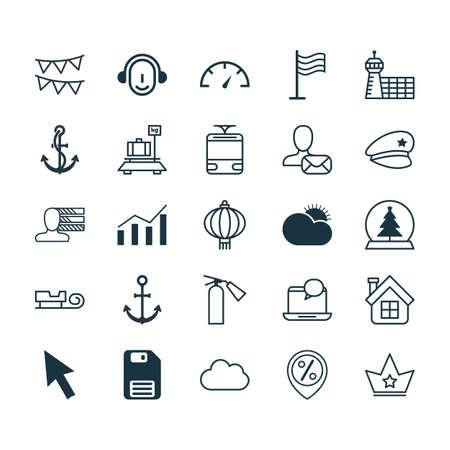 Ensemble de 25 icônes modifiables universelles. Peut être utilisé pour la conception Web, Mobile et App. Comprend des éléments tels que vérificateur de vitesse, lampe traditionnelle, bagages, etc.