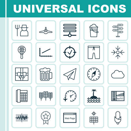cereal bar: Set Of 25 Universal Editable Icons. Can Be Used For Web, Mobile And App Design. Includes Elements Such As Controlling Board, Plane, Reef And More. Illustration