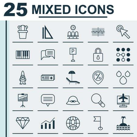 25 ユニバーサル編集可能なアイコンのセットです。Web、モバイル、アプリの設計に使用できます。女性キャップ、席、ピアノなどの要素が含まれて