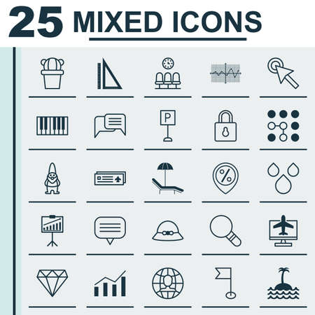Set Of 25 Universal Editable Icons. Can Be Used For Web, Mobile And App Design. Includes Elements Such As Woman Cap, Seats, Piano And More. Vetores