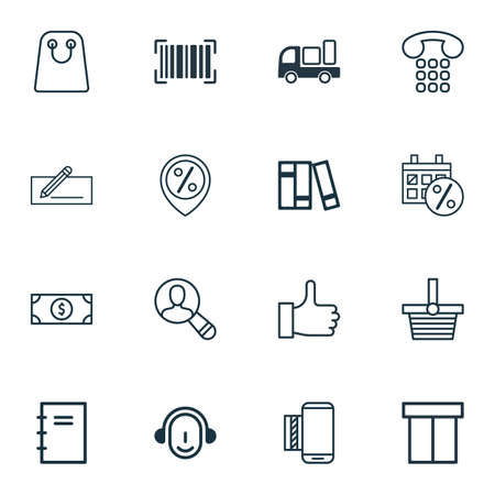 compensate: Set Of 16 Ecommerce Icons. Includes Tote Bag, Box, Recommended And Other Symbols. Beautiful Design Elements.