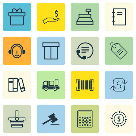 Set Of 16 E-Commerce Icons. Includes Identification Code, Present, Pannier And Other Symbols. Beautiful Design Elements. Illustration