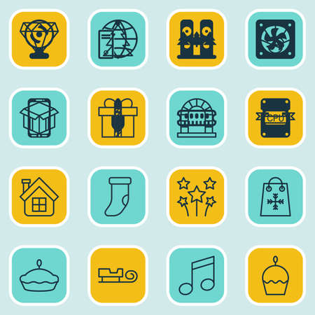 crotchets: Set Of 16 Celebration Icons. Includes Brilliant, Placard, Crotchets And Other Symbols. Beautiful Design Elements. Illustration