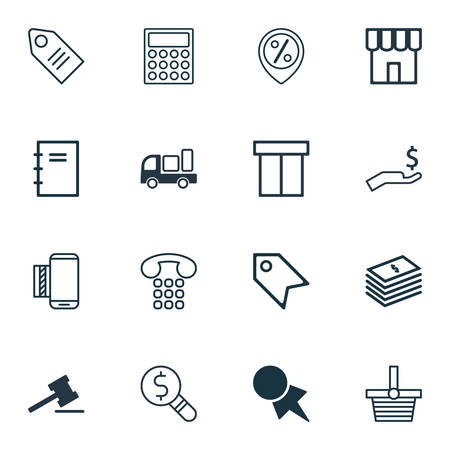 Set Of 16 E-Commerce Icons. Includes Box, Gavel, Pannier And Other Symbols. Beautiful Design Elements.