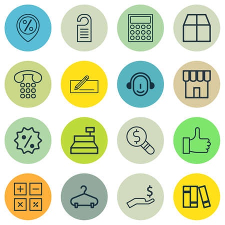 financial position: Set Of 16 Commerce Icons. Includes Rebate Sign, Cardboard, Bookshelf And Other Symbols. Beautiful Design Elements.
