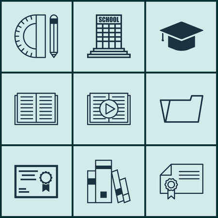 article writing: Set Of 9 School Icons. Includes Library, Diploma, Taped Book And Other Symbols. Beautiful Design Elements.