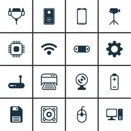Set Of 16 Computer Hardware Icons. Includes Router, Camcorder, Vga Cord And Other Symbols. Beautiful Design Elements.