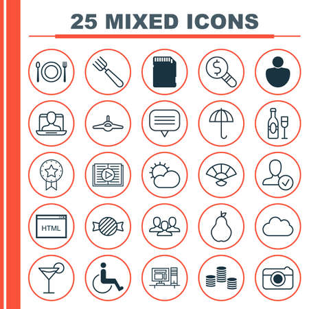 Set Of 25 Universal Editable Icons. Can Be Used For Web, Mobile And App Design. Includes Elements Such As Computer, Plane, Japan Souvenir And More.