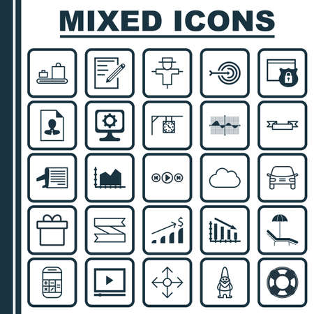 Set Of 25 Universal Editable Icons. Can Be Used For Web, Mobile And App Design. Includes Elements Such As Video Player, Timetable, Fail Graph And More. Çizim