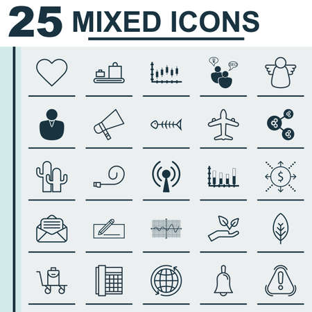 Set Of 25 Universal Editable Icons. Can Be Used For Web, Mobile And App Design. Includes Elements Such As Siren, Crooked Graph, World And More.