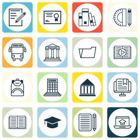 haversack: Set Of 16 Education Icons. Includes Haversack, Distance Learning, Transport Vehicle And Other Symbols. Beautiful Design Elements.