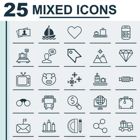 Set Of 25 Universal Editable Icons. Can Be Used For Web, Mobile And App Design. Includes Elements Such As Price Stamp, Sail Ship, Briefcase Scanner And More.