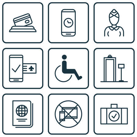 duration: Set Of 9 Airport Icons. Includes Luggage Scanner, Call Duration, Forbidden Mobile And Other Symbols. Beautiful Design Elements.