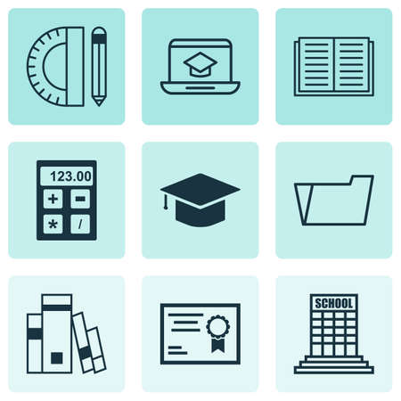 article writing: Set Of 9 School Icons. Includes Certificate, Library, Document Case And Other Symbols. Beautiful Design Elements. Illustration